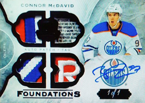 2015-16 Cup Connor McDavid Foundations Quad Tag Patch Autograph 15