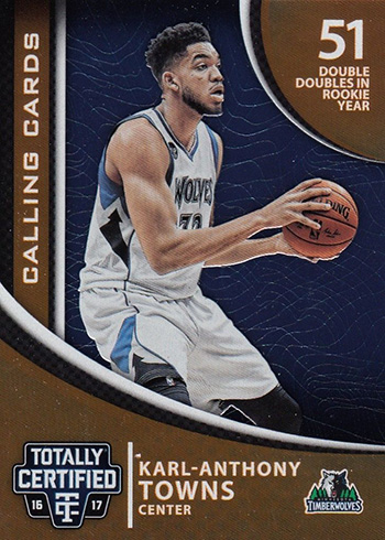 2016-17 Panini Totally Certified Basketball Calling Cards Karl-Anthony Towns