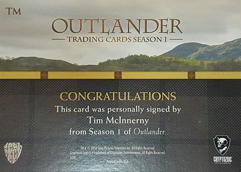 2016 Cryptozoic Outlander Season 1 Autographs Tim McInnerny Reverse