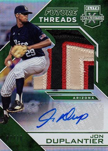 2016 Panini Elite Extra Edition Baseball Future Threads Silhouette Autographs Emerald Jon Duplantier