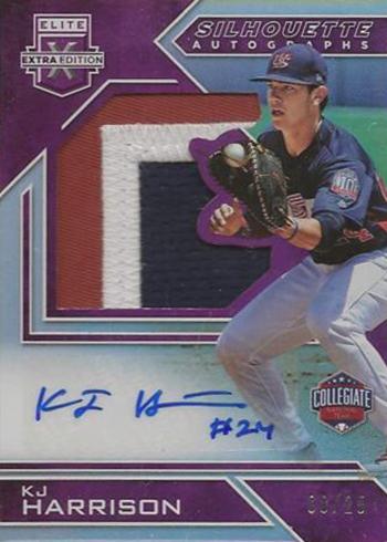 2016 Panini Elite Extra Edition Baseball Future Threads Silhouette Autographs USA Baseball Purple KJ Harrison