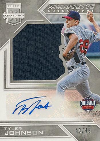 2016 Panini Elite Extra Edition Baseball Future Threads Silhouette Autographs USA Baseball Tyler Johnson 49