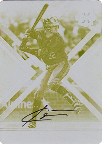 2016 Panini Elite Extra Edition Baseball Printing Plates Yellow Autographs Carter Kieboom