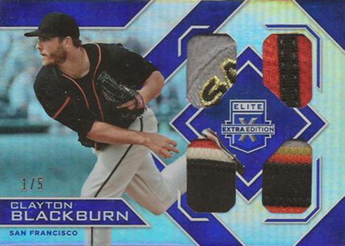 2016 Panini Elite Extra Edition Baseball Quad Materials Blue Clayton Blackburn