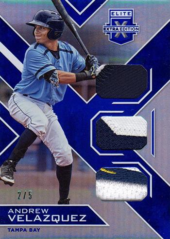 2016 Panini Elite Extra Edition Baseball Triple Materials Blue