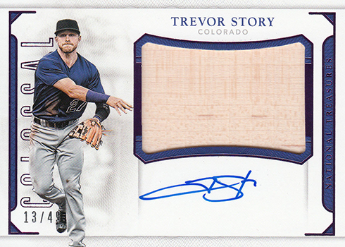 2016 Panini National Treasures Baseball Colossal Bat Signatures Purple Trevor Story