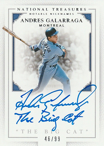 2016 Panini National Treasures Baseball Notable Nicknames Andres Galarraga