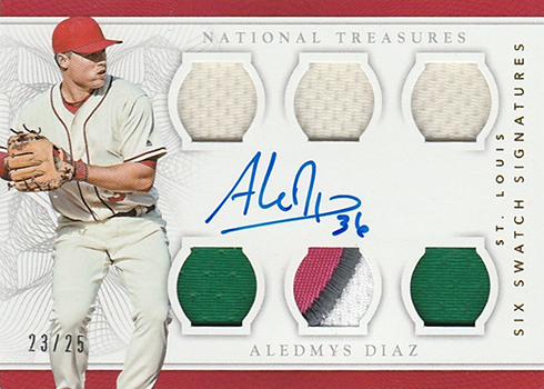 2016 Panini National Treasures Baseball Six Swatch Signatures Gold Aledmys Diaz
