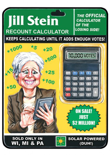 2016 Topps Garbage Pail Kids Dis-grace to the White House 90 Jill Stein Recount Calculator