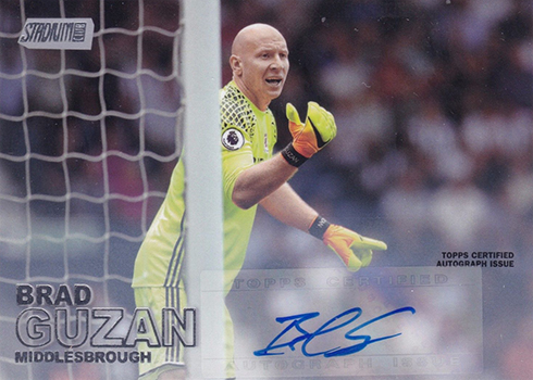 2016 Topps Stadium Club Premier League Soccer Base Autographs Brad Guzan