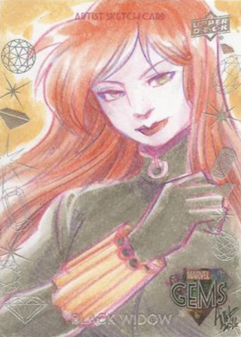 2016 Upper Deck Marvel Gems Sketch Card Irma Ahmed Black Widow