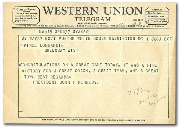 Vince Lombardi JFK Telegram