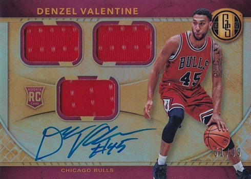 2016-17 Panini Gold Standard Basketball Rookie Jersey Autographs Triple Denzel Valentine