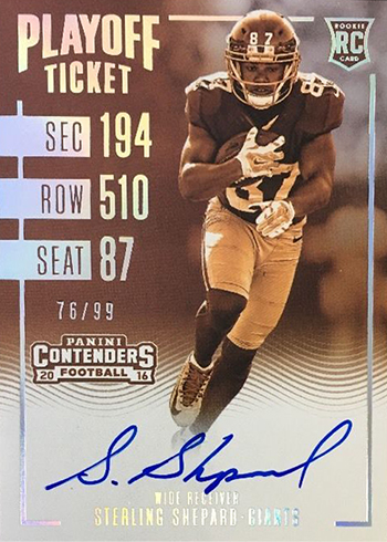 2016 Contenders Football Rookie Ticket RPS Playoff Sepia Sterling Shepard
