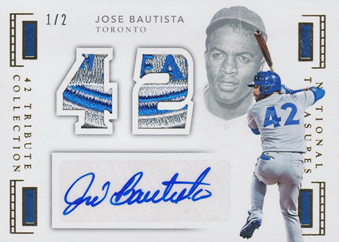 2016 National Treasures Baseball 42 Tribute Jersey Signatures Prime Jose Bautista