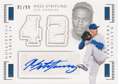 2016 National Treasures Baseball 42 Tribute Jersey Signatures Ross Stipling