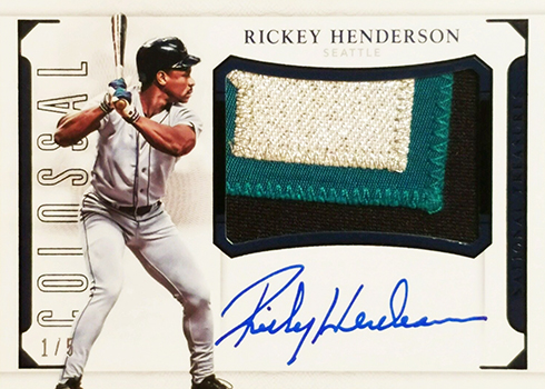 2016 National Treasures Baseball Colossal Signatures Patch Black Rickey Henderson