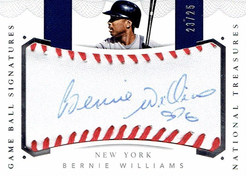 2016 National Treasures Baseball Game Ball Signatures Bernie Williams