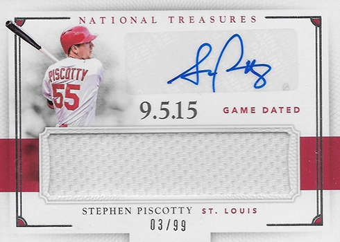 2016 National Treasures Baseball Game Dated Signatures Stephen Piscotty