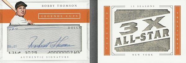 2016 National Treasures Baseball Legends Cut Booklet Materials Bobby Thompson