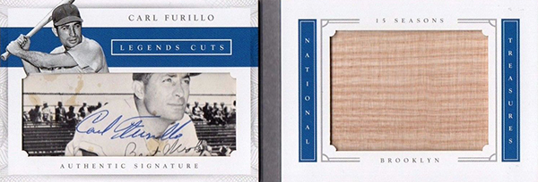 2016 National Treasures Baseball Legends Cut Materials Bat Carl Furillo