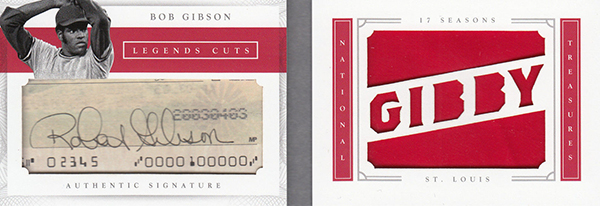 2016 National Treasures Baseball Legends Cut Materials Nicknames Bob Gibson