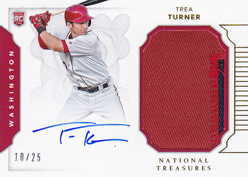 2016 National Treasures Baseball Rookie Materials Gold Trea Turner