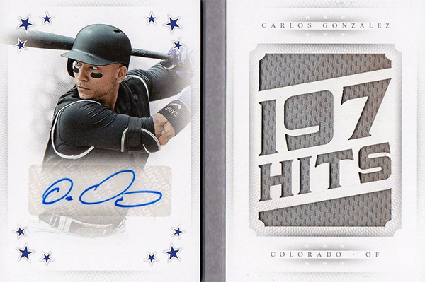 2016 National Treasures Baseball Star Materials Signatures Stats Carlos Gonzalez