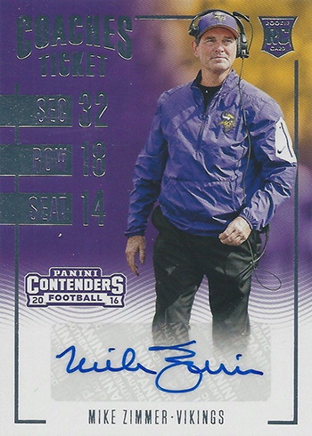 2016 Contenders Football Coaches Ticket Mike Zimmer