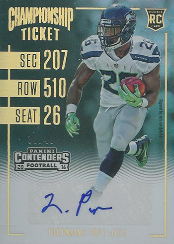 2016 Panini Contenders Football Rookie Ticket Championship Autograph Troymaine Pope