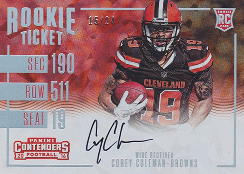 2016 Panini Contenders Football Rookie Ticket RPS Cracked Ice Corey Coleman