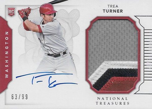 2016 Panini National Treasures Baseball Rookie Materials Signature Trea Turner