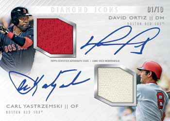 2017 Topps Diamond Icons Baseball Dual Auto Relic Ortiz Yastrzemski