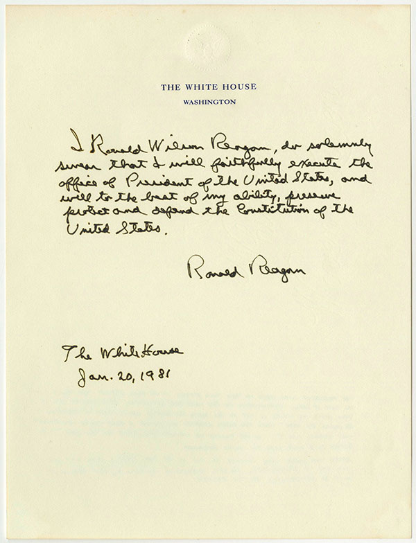 Ronald-Reagan-Signed-Presidential-Oath