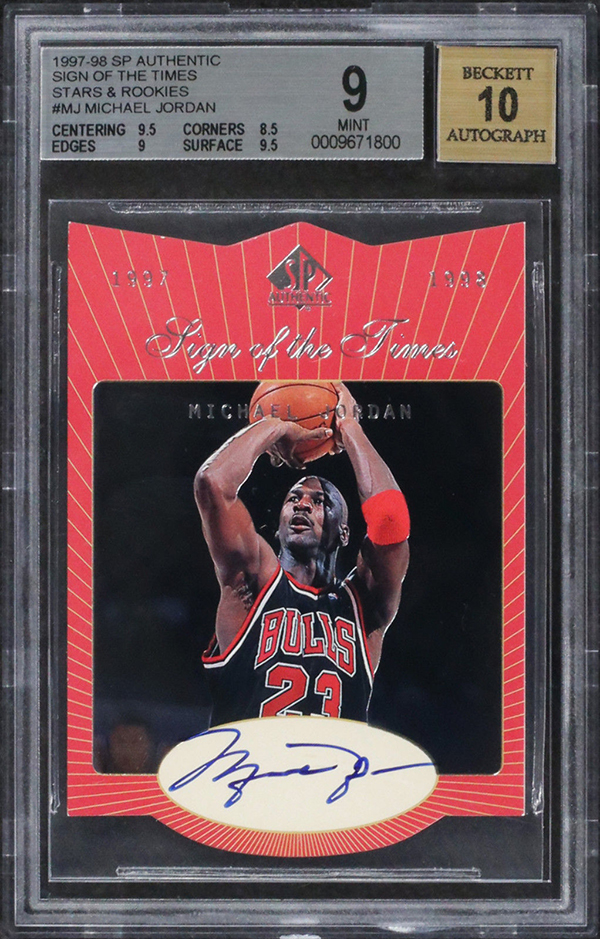 1997-98 SP Authentic Sign of the Times Stars and Rookies Michael Jordan Autograph BGS 9