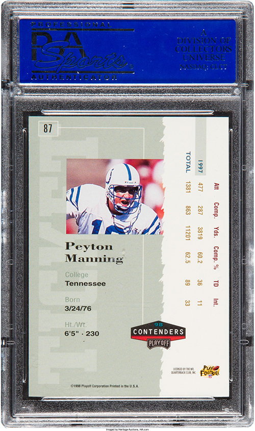 1998 Playoff Contenders Peyton Manning RC Autograph PSA 10 Reverse