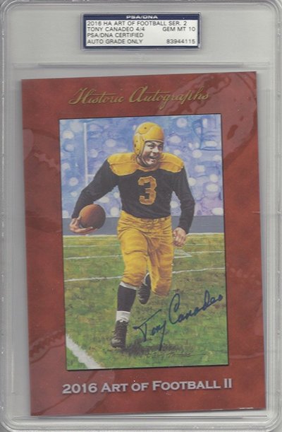 2016 Historic Autographs Art of Football Series 2 Tony Canadeo
