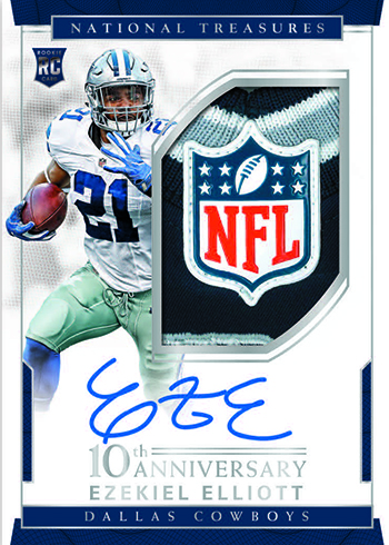 2016 Panini National Treasures Football 10th Anniversary Rookie Autograph Patch