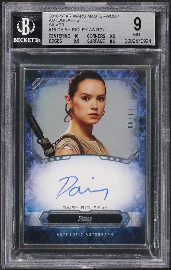 2016 Topps Star Wars Masterwork Daisy Ridley Autograph 10 BGS 9