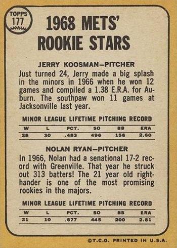 1968 Topps 177 Nolan Ryan Jerry Koosman Back