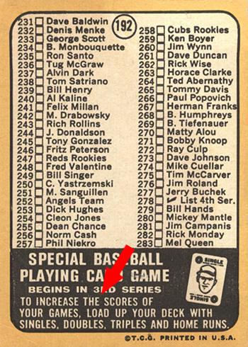 1968 Topps 192 Checklist Carl Yastrzemski Back To Increase The Arrow