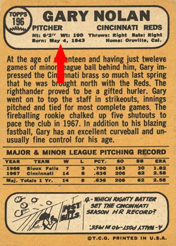1968 Topps 196 Gary Nolan Back Arrow