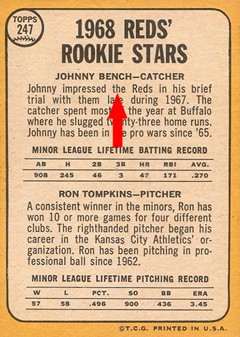 1968 Topps 247 Johnny Bench Tompkins Back the arrow