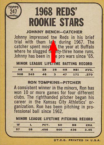 1968 Topps 247 Johnny Bench Tompkins Back tne arrow
