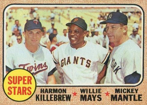 1968 Topps 490 Harmon Killebrew Willie Mays Mickey Mantle