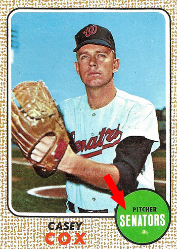 1968 Topps 66 Casey Cox White Arrow