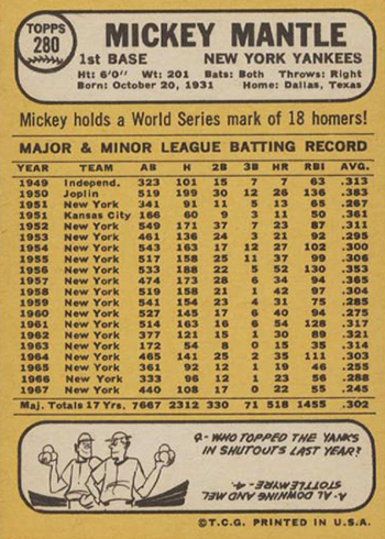 1968 Topps Mickey Mantle 280 Reverse