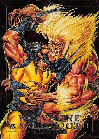 1992 SkyBox Marvel Masterpieces Battle Spectra 3-D Wolverine Sabretooth