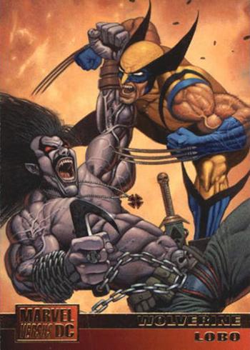 1995 Fleer DC Versus Marvel 55 Wolverine Lobo