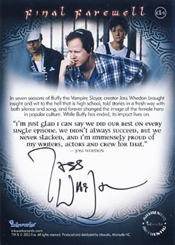 2003 Buffy the Vampire Slayer Season 7 Final Farewell Case Loader Autograph Joss Whedon